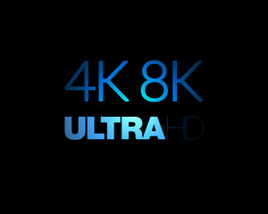 4K and 8K Ultra HD text on black