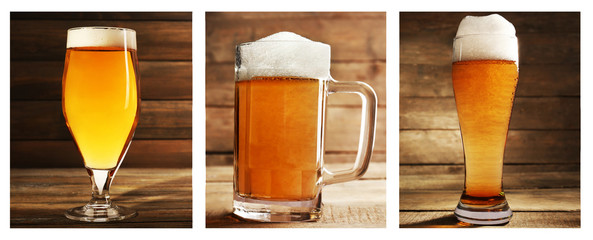 Collage with glasses of beer on table on wooden background