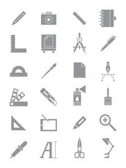 Gray design icons set
