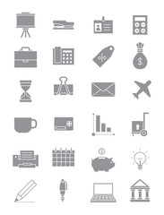 Gray business icons set