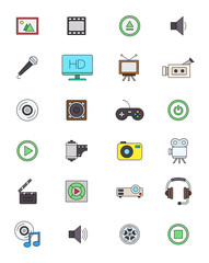 Color multimedia icons set