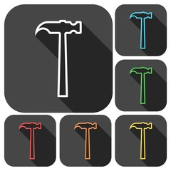 Line Hammer Icons set with long shadow