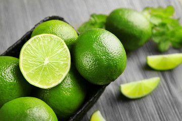 Fresh limes, closeup
