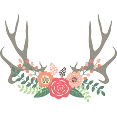 Deer Antlers with Flowers.Wedding Floral set.