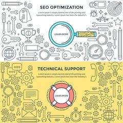 Set of flat design concepts for SEO Optimization, SEO Service, Search Optimization, Technical Service, Technical Support, Support Service, Customer Support, Web Development.