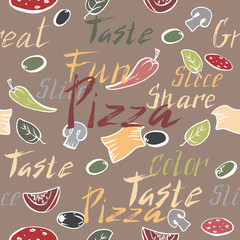 Seamless pattern with ink painted pizza related text