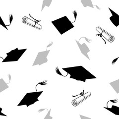 Seamless Pattern with Graduation Caps