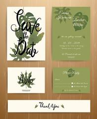 Tropical Palm Leaves Wedding Invitation Card Set