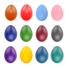 Set of twelve easter eggs isolated on white background with clipping path for design happy easter day.