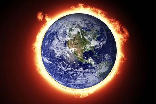 Composite image of earth in fire