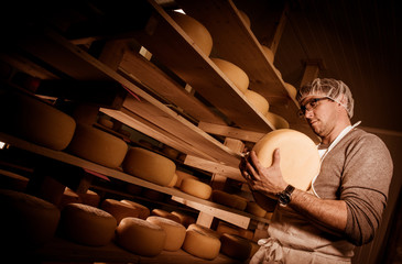 Cheese maker cleaning cheeses in his workshop