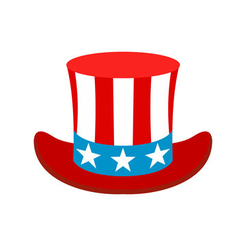 Hat in the USA flag colors icon