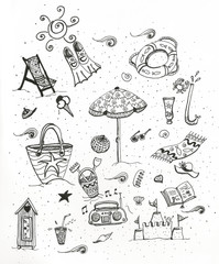Set di icone mare e vacanze