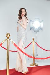 Woman posing on red carpet