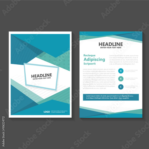 Blue Vector Leaflet Brochure Flyer Template Design, Book Cover