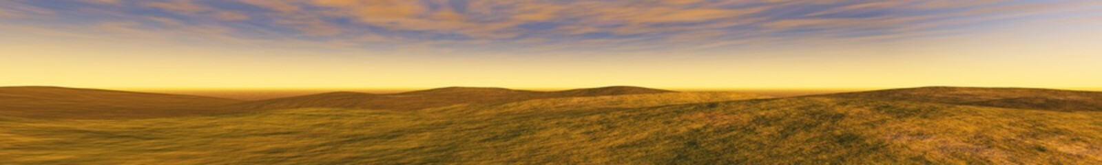 panorama of the hills and the sky, the light above the ground, banner.