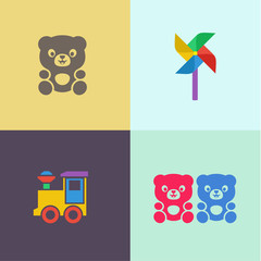 Children toy teddy bear and locomotive turntable flat icons illustrations logo