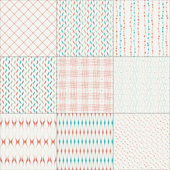 Set of nine abstract seamless patterns