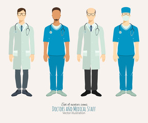 Doctors and medical staff. Set of characters