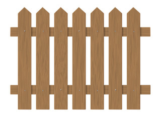 brown wooden fence, barrier in the garden on the farm or in the village. Element front garden landscaping.