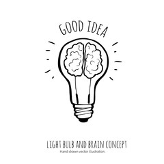 Lightbulb  and brain. Idea concept. Hand-drawn illustration.