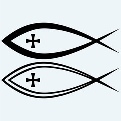 Christian fish symbol with cross. Isolated on blue background. Vector silhouettes
