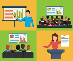 Set of flat minimalistic illustrations, conference business meeting situations