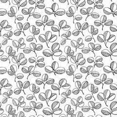 Vector abstract  leaves seamless pattern background in doodle style