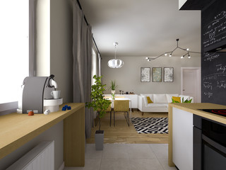 light interior in the Scandinavian style 3D visualization
