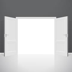 Open doors. Realistic vector illustration