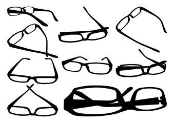Glasses silhouettes set in an elegant frame. Vector illustration