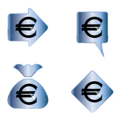 Euro sign. A set of four vector elements.