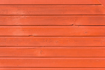 Section of orange wooden panelling from a seaside beach hut. Ideal as a background for summer holiday and beach themes.