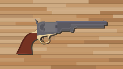 civil war pistols gun with wood table background