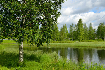 Summer park in northern city. Finnish Lapland