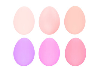 Set of four easter eggs isolated on white background with clipping path for design happy easter day.