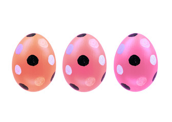 Set of three easter eggs isolated on white background for design  happy easter day