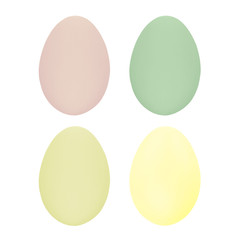 Set of four easter eggs isolated on white background for design  happy easter day