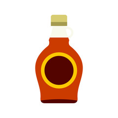 Bottle of maple syrup icon, flat style