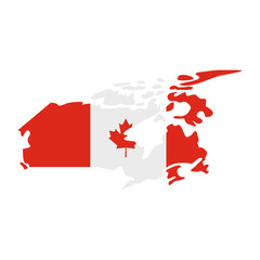 Map of Canada with the image of the national flag