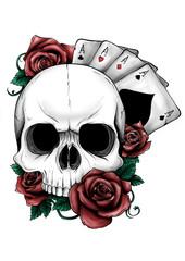 teschio con rose