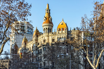 Barcelona architecture, Spain. Building street, Avinguda Diagona