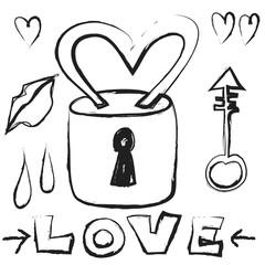 doodle love padlock and key
