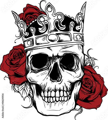 Teschio con corona stock image and royalty free vector for Teschi da disegnare