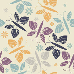 Decorative endless pattern with trendy flowers and butterflies