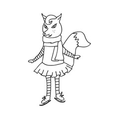 illustration of the amusing fox by skates