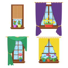 Wall Mural - Windows with curtains and flowers. Vector set