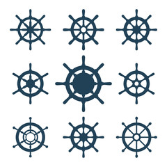 Ship Helm Vector Icons Set