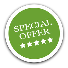 Special offer sale sign green sticker