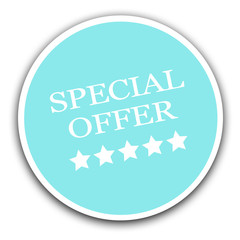 Special offer sale sign light blue sticker